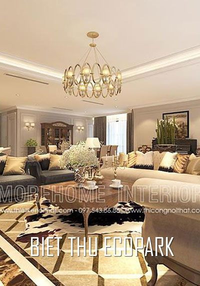 Thiết kế nội thất biệt thự Ecopark phong cách tân cổ điển sang trọng