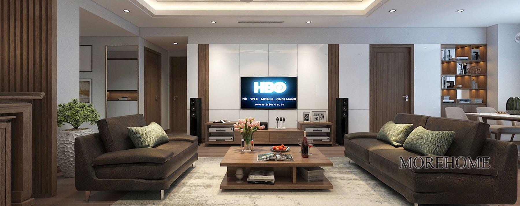 Thiết kế nội thất phòng khách chung cư hiện đại N05 Hoàng Đạo Thúy