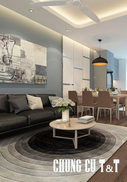 Thiết kế nội thất chung cư hiện đại 90m2 T&T RiverView - Anh Hùng
