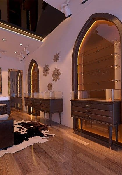 Thiết kế nội thất showroom đá phong thủy An Thiên