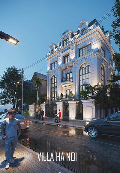 Thiết kế kiến trúc nhà biệt thự tân cổ điển cao cấp tại Hà Nội