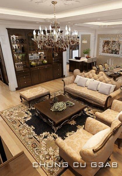 Thiết kế nội thất chung cư G3AB phong cách tân cổ điển - Anh Minh