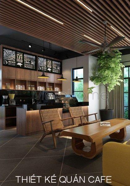 Thiết kế quán cafe với nội thất gỗ hiện đại