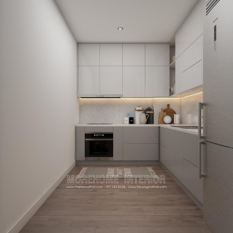 Thiết kế phòng bếp chung cư k35 tân mai hoàng mai hà nội