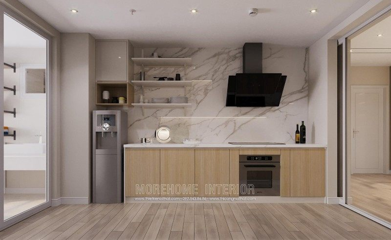 Tủ bếp hiện đại đẹp cho chung cư mandarin garden cầu giấy hà nội