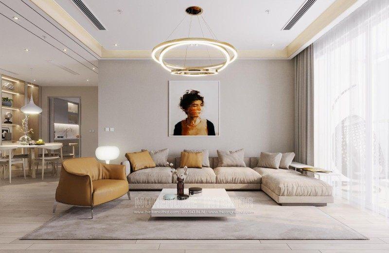 Thiết kế nội thất phòng khách chung cư mandarin garden cầu giấy hà nội