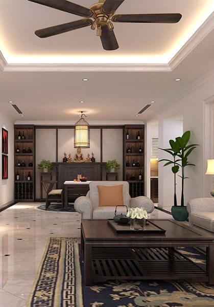 Thiết kế nội thất chung cư Thăng Long Number One phong cách gỗ việt