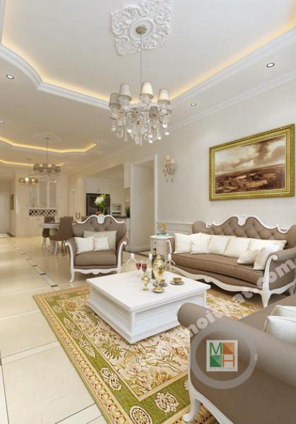 Thiết kế nội thất căn hộ chung cư Sài Gòn Pearl, Bình Thạnh, Hồ Chí Minh - Nhà cô Hà