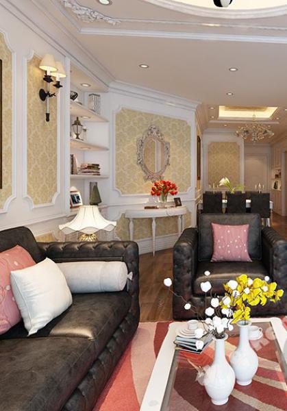 Thiết kế nội thất chung cư TimesCity phong cách tân cổ điển - chị Trang