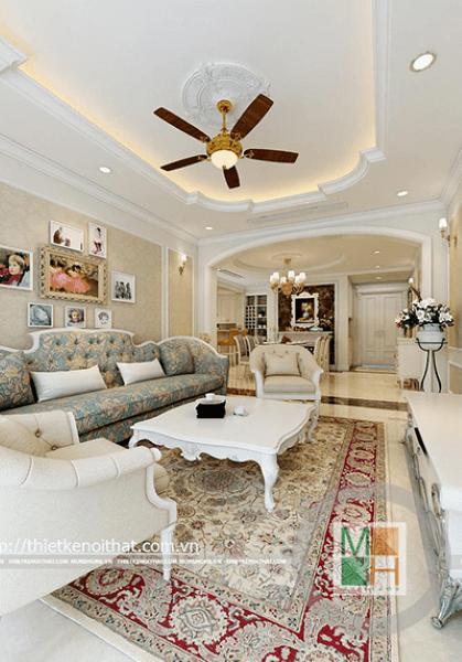 Thiết kế nội thất căn hộ chung cư Mandarin Garden đậm phong cách tân cổ điển - Chị Xuân Dung