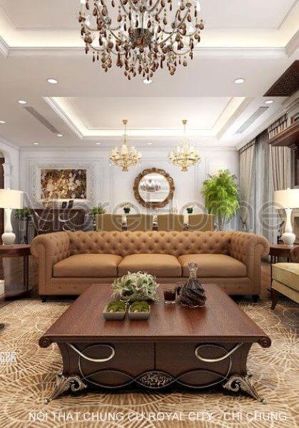 Thiết kế nội thất căn hộ chung cư Royal City tân cổ điển - Chị Chung