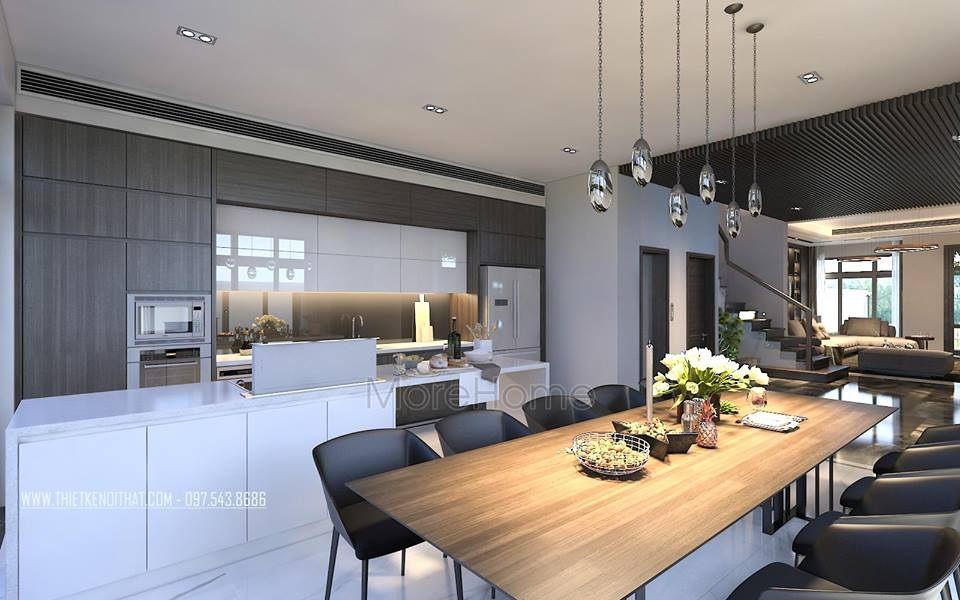 nội thất phòng bếp ăn biệt thự cao cấp Vinhomes Riverside The Harmony