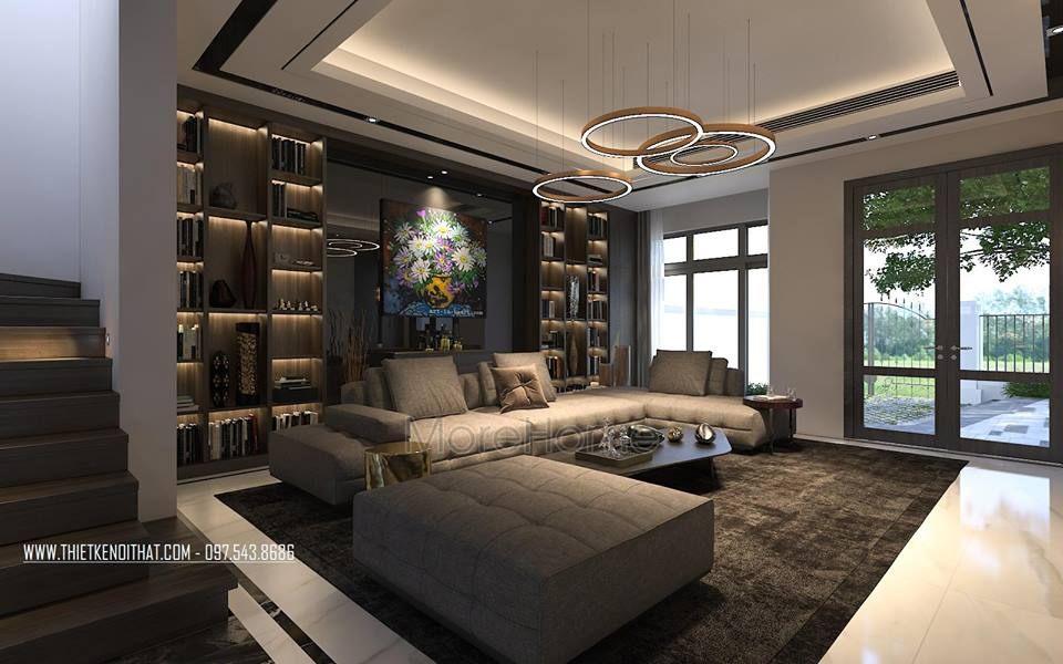 nội thất phòng khách biệt thự cao cấp Vinhomes Riverside The Harmony