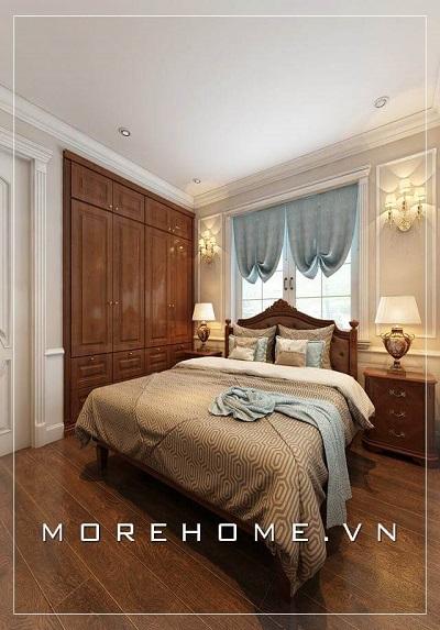 Thiết kế phòng ngủ biệt thự đẹp với nội thất gỗ óc chó cao cấp