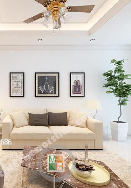 Thiết kế nội thất chung cư Royal City - Nhà Chị Bích nội thất màu trắng