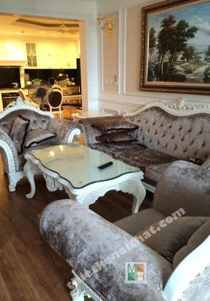 Thi công nội thất chung cư phong cách tân cổ điển tại Mandarin Garden Hòa Phát - Nhà Anh Hà