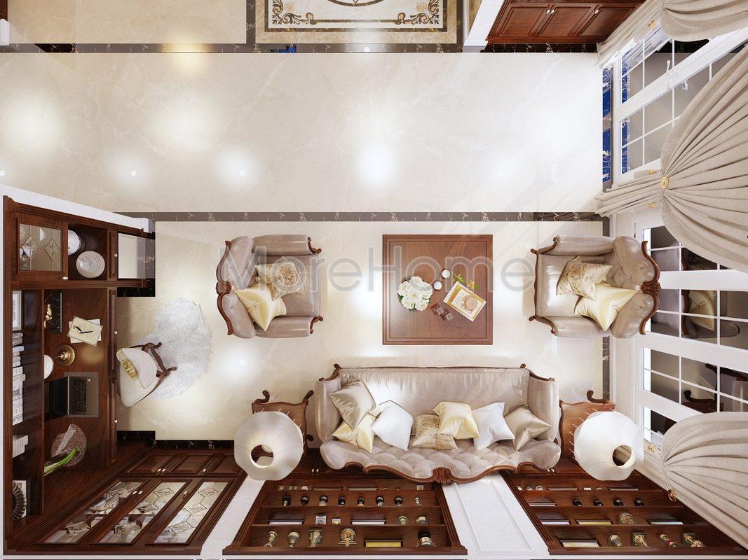 Thiết kế nội thất phòng khách biệt thự Phổ Quang Tân Bình