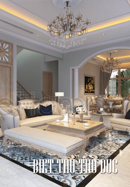 Thiết kế nội thất biệt thự Thủ Đức sang trọng với phong cách thiết kế tân cổ điển