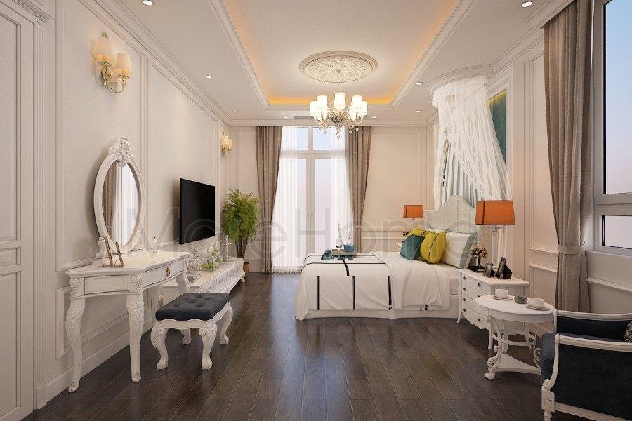 Thiết kế nội thất phòng ngủ biệt thự Nha Trang tân cổ điển