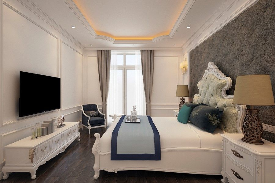 Thiết kế nội thất phòng ngủ Master biệt thự Nha Trang tân cổ điển