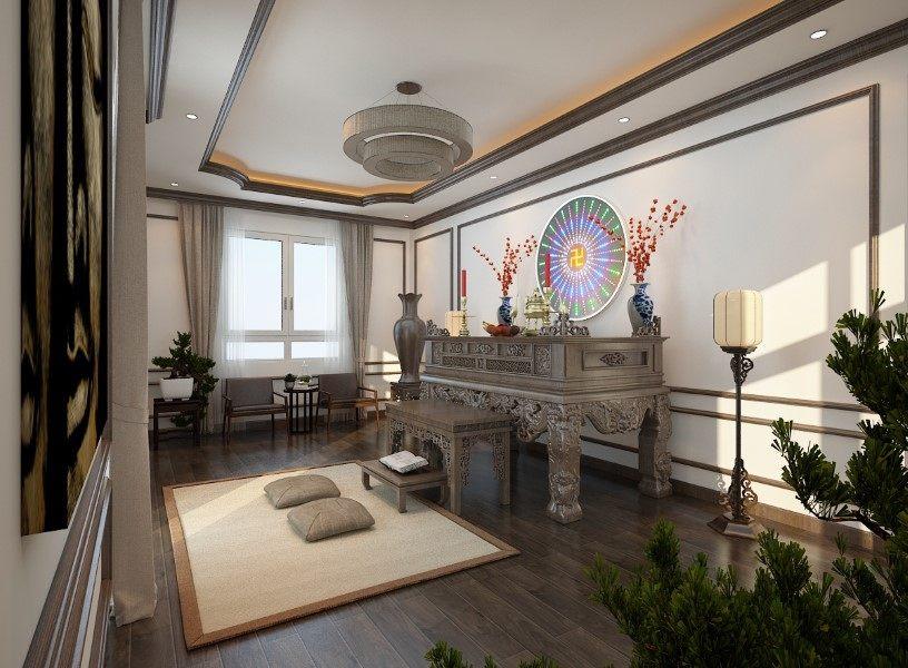 Thiết kế nội thất phòng thờ biệt thự Nha Trang tân cổ điển