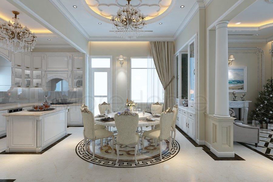 Thiết kế nội thất phòng bếp biệt thự Nha Trang tân cổ điển