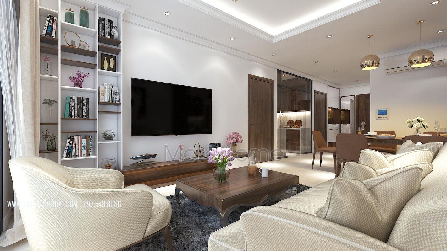 Thiết kế nội thất phòng khách chung cư gamuda garden hoàng mai hà nội
