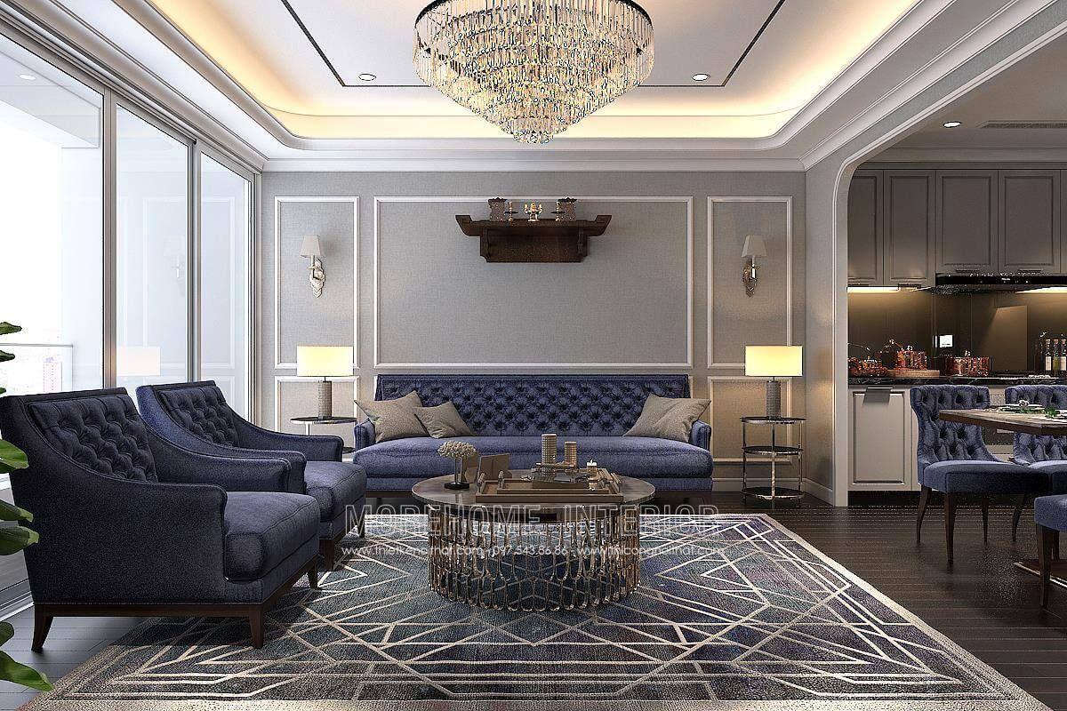 Thiết kế nội thất phòng khách chung cư hongkong tower đê la thành đống đa hà nội