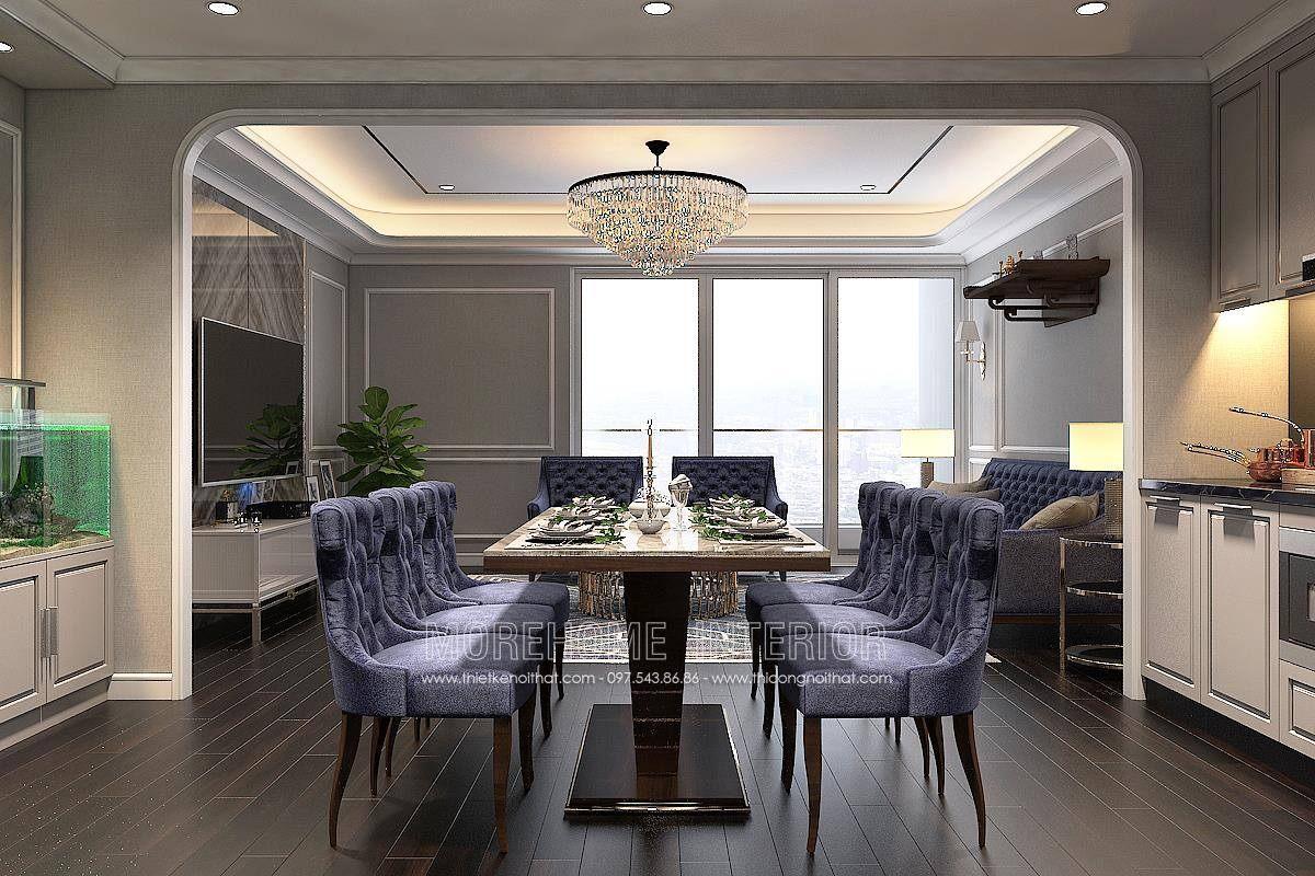 Bàn ăn tân cổ điển đẹp cho chung cư hongkong tower 243a đê la thành