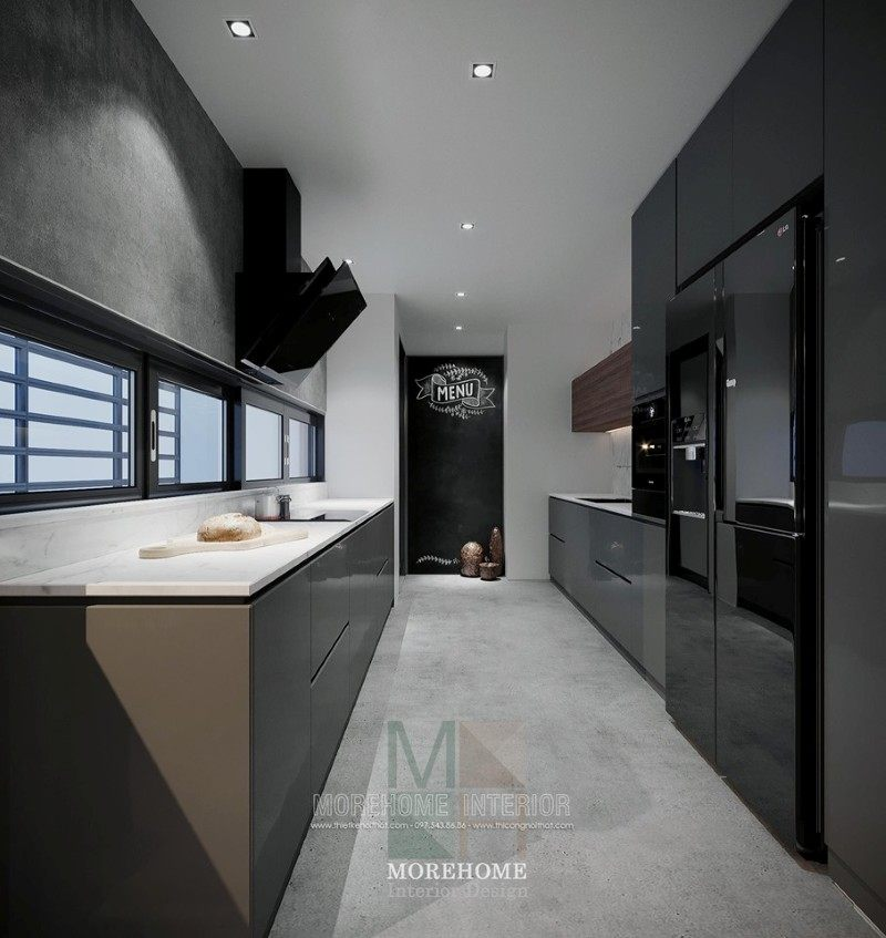 Thiết kế tủ bếp hiện đại chung cư vinhomes skylake phạm hùng