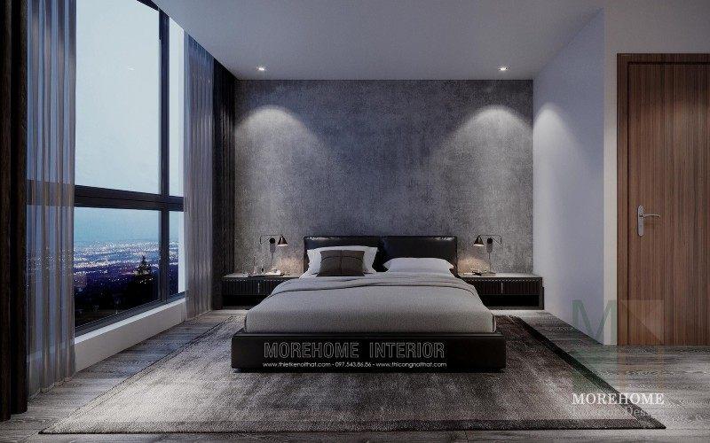 Thiết kế nội thất phòng ngủ chung cư vinhomes skylake phạm hùng hiện đại