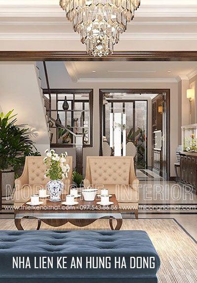 Thiết kế nội thất nhà liền kề phong cách tân cổ điển tại An Hưng
