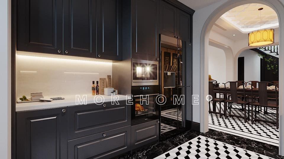 Thiết kế nội thất phòng bếp nhà phong cách á đông