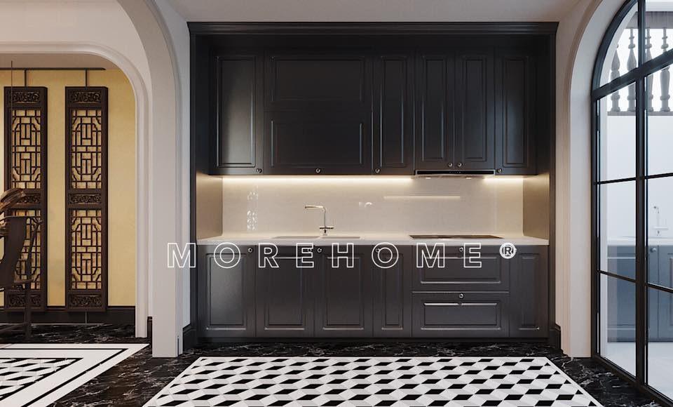 Tủ bếp phong cách á đông cho nhà 2 tầng