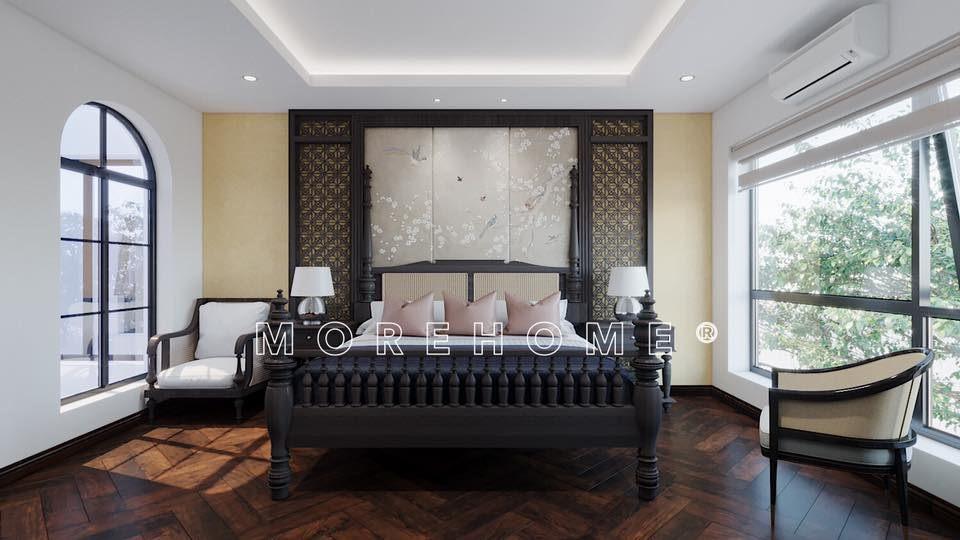 Giường ngủ gỗ đẹp cho nhà phong cách á đông