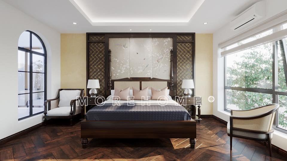 Thiết kế nội thất phòng ngủ cho nhà phong cách á đông