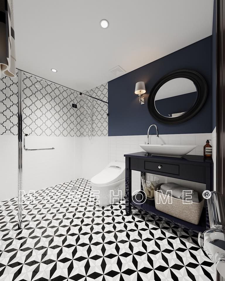 Thiết kế phòng tắm nhà vệ sinh cho nhà 2 tầng phong cách á đông