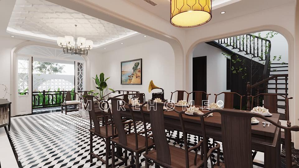 Thiết kế nội thất phòng ăn nhà phong cách á đông