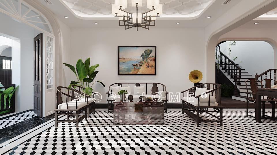 Thiết kế nội thất phòng khách nhà phong cách á đông