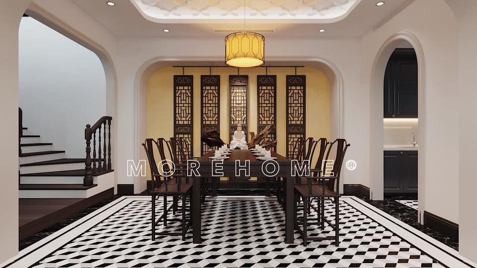 Thiết kế nội thất phòng ăn nhà 2 tầng phong cách á đông
