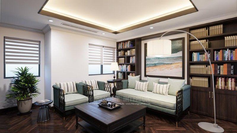 Thiết kế phòng làm việc, phòng đọc sách biệt thự Gamuda Hoàng Mai Hà Nội