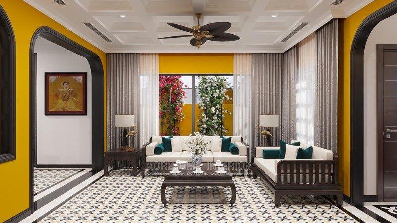 Thiết kế nội thất phòng khách biệt thự Gamuda Hoàng Mai Hà Nội