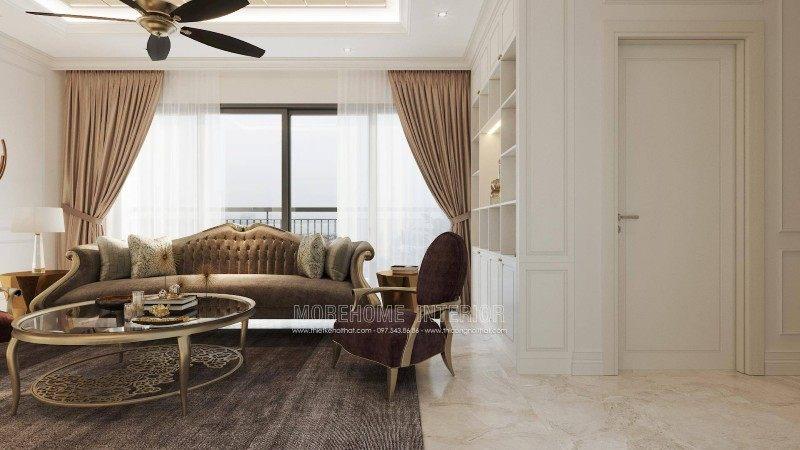 Thiết kế nội thất phòng khách chung cư D'capitale Trần Duy Hưng cầu giấy hà nội