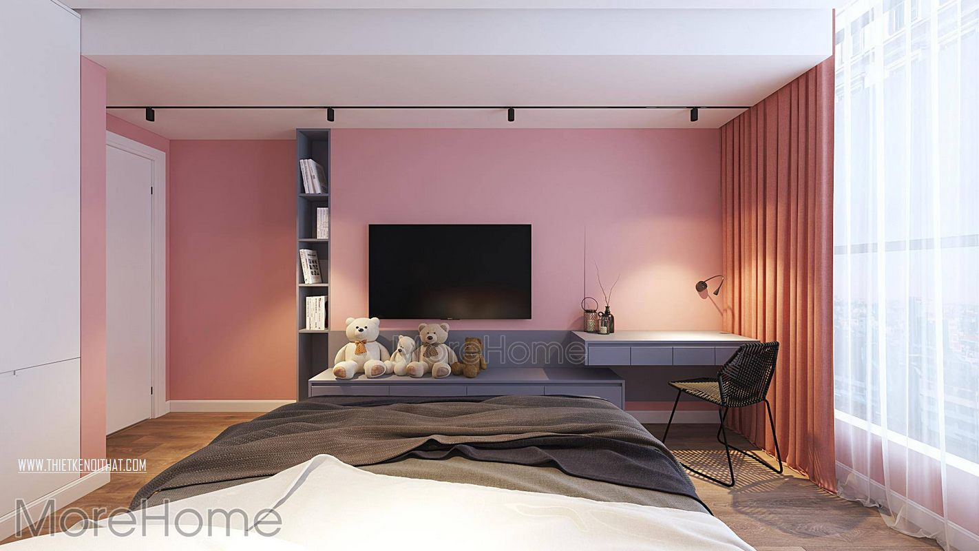 Thiết kế nội thất phòng ngủ chung cư green bay nam từ liêm hà nội