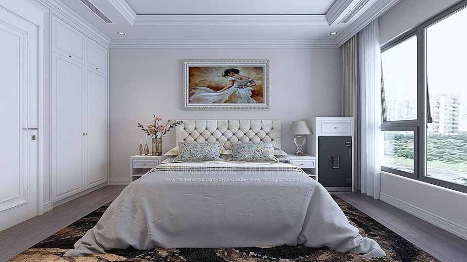 Thiết kế nội thất phòng ngủ tân cổ điển chung cư times city quận hai bà trưng hà nội