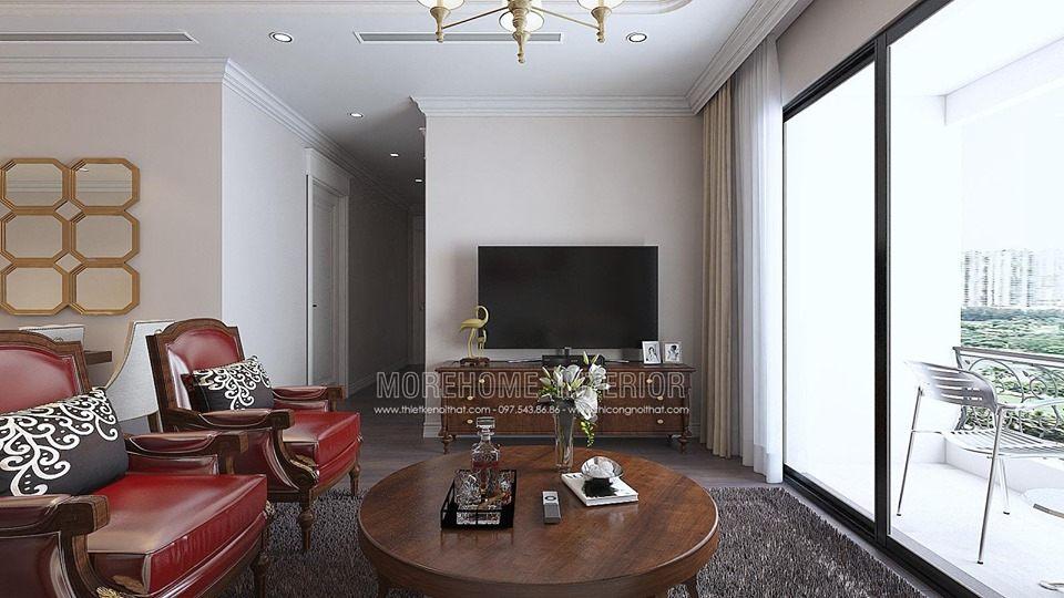 Thiết kế nội thất phòng khách chung cư times city quận hai bà trưng hà nội