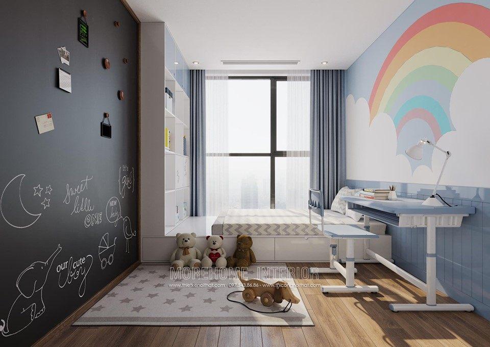 Thiết kế nội thất phòng ngủ trẻ em chung cư vinhomes skylake phạm hùng