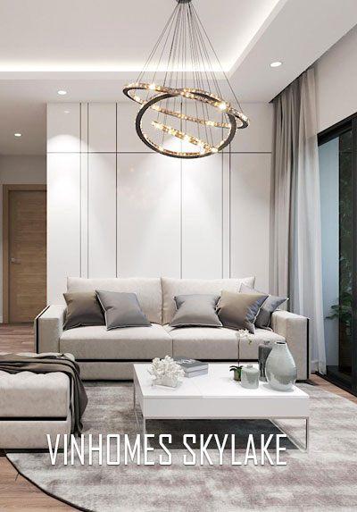 Thiết kế nội thất chung cư Vinhome Skylake tone trắng nhẹ nhàng