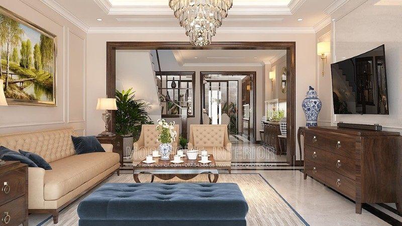 Thiết kế nội thất phòng khách nhà liền kề an hưng la khê hà đông
