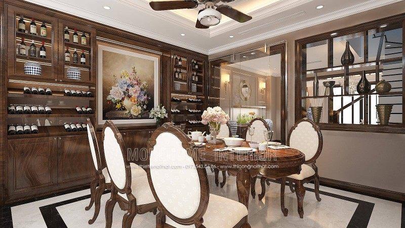 Thiết kế nội thất phòng ăn nhà liền kề an hưng la khê hà đông
